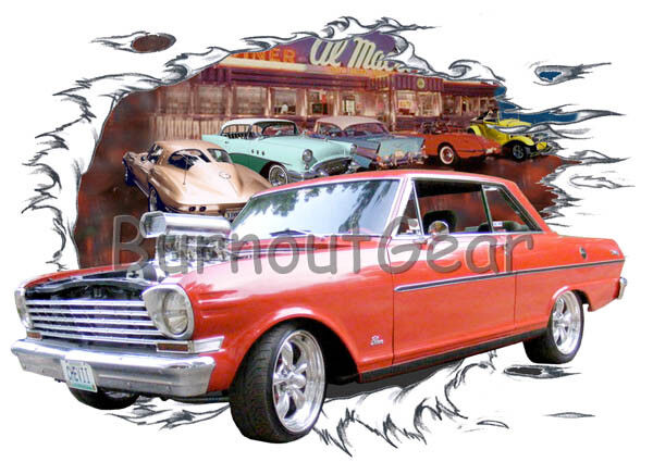 1963 ROT Blown Chevy Nova Custom Hot Rod Diner T-Shirt 63 Muscle Car Tees