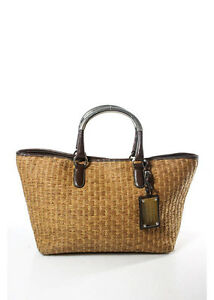 c383110545db AUTH DOLCE   GABBANA Brown Straw Woven Leather Trim Tote Handbag