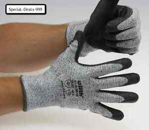 Schnittschutz-Handschuhe-grau-schwarz-PU-Beschichtung-Groesse-8-9-10-11-Schutz-Neu