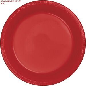 Red 10'' 9'' 6'' Plastic Party Plates Disposable Dinner Wedding Plastic Dishes