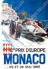 Grand Prix de Europe Europa Monaco 1963 Poster Plakat Bild Rennen Reklame