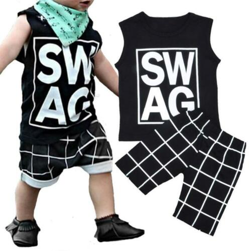 2PCS Kids Toddler Baby Boys Summer T-shirt Tops+Shorts Pants Outfits Clothes Set