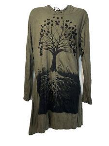 Sure Design Women's Size L Tree of Life Hoodie Green Om Dress