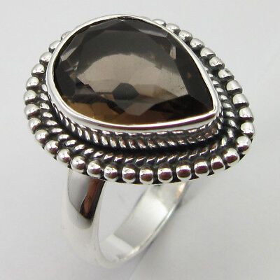 Gemstone Obedient 925 Fine Silver Facetted Smoky Quartz Ring Size 9 Deco Wedding Jewelry Relieving Heat And Thirst.