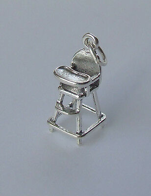 BABY HIGHCHAIR HIGH CHAIR 3D CHARM 925 STERLING SILVER TODDLER