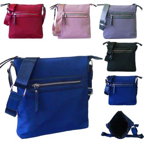 New Ladies Zipper Detail Plain Nylon Casual Crossbody Bag Handbag