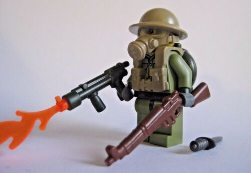 Lego Custom BRITISH FLAMETROOPER Minifigure WWII Soldier W// Accessories
