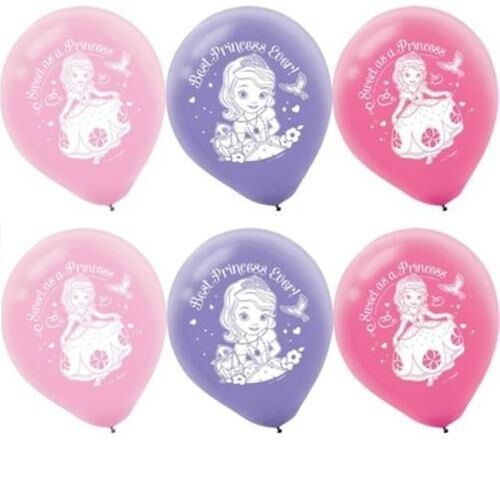 """Disney Sofia the First Birthday 12/"""" Latex Balloons Party Supplies 6ct"""