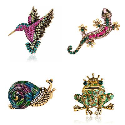 Schmuck Brosche Pin Accessories mit Strass: Kolibri • Gecko