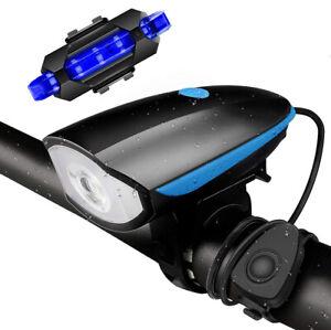 USB Recargable LED Linterna Bicicleta Cabeza Luz de Bicicleta Delantera Trasera Lámpara Kit nos