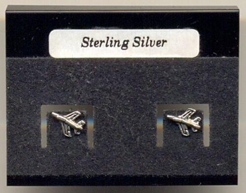 Aeroplane Sterling Silver 925 Studs Earrings Carded