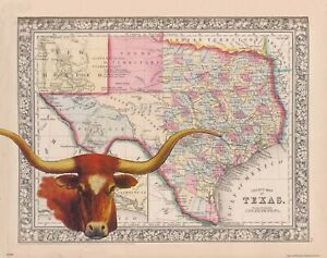 Map69.Details About Texas Longhorns Football Art Print Vintage State Map Cattle Rancher Rodeo Map69