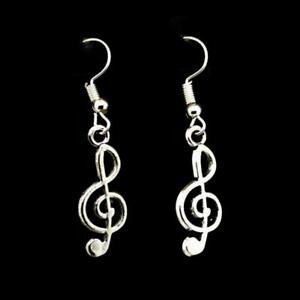 Image Is Loading Treble Clef Earrings 1 034 Silver Tone Stainless