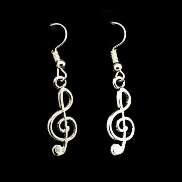Treble Clef Earrings 1 Silver Tone Stainless Steel Wires Music Musician Gift