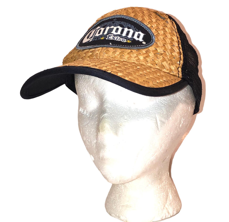 Vintage Corona Extra Beer Straw Woven Beach Cap H… - image 1