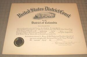 """1951 ATTORNEY OF THE US DISTRICT COURT - Washington, DC 19"""" x 15"""" Certificate"""