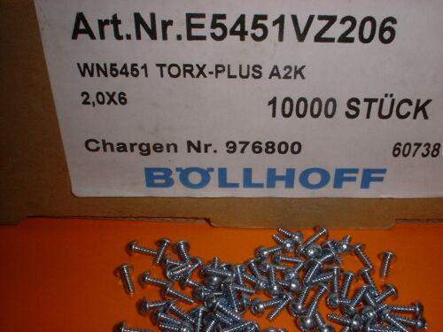 100x 2,0x6mm TORX PT-Schraube für Kunststoff