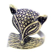 vintage antique retro style fox charm ring, UK Size N