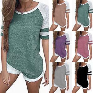 Women-Summer-Short-Sleeve-Baseball-Shirts-Basic-Tee-Causal-Blouse-T-shirt-Tops