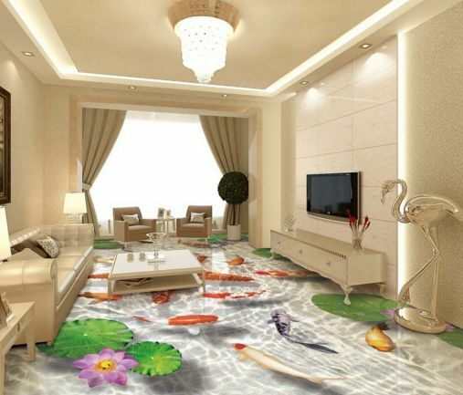 3D Starfish Lotus River Floor WallPaper Murals Wall Print Decal 5D AJ WALLPAPER
