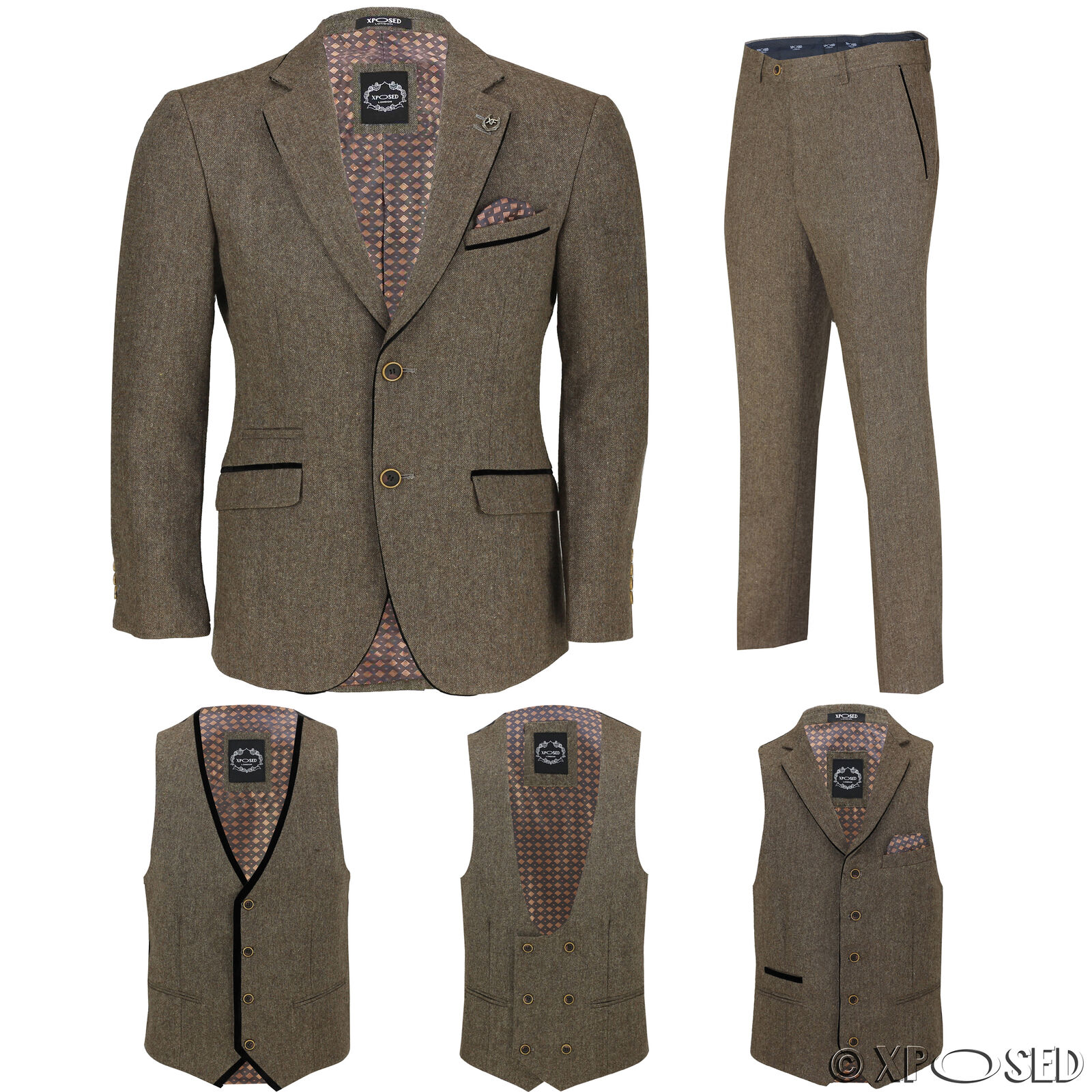 Herren Tan Wool Mix Tweed 3 Piece Suit Sold Separately Blazer Trouser Waistcoat