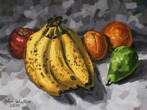 Original-Still-Life-Painting-034-Bananas-and-Fruit-034-9-x-12-inch-by-John-Wallie