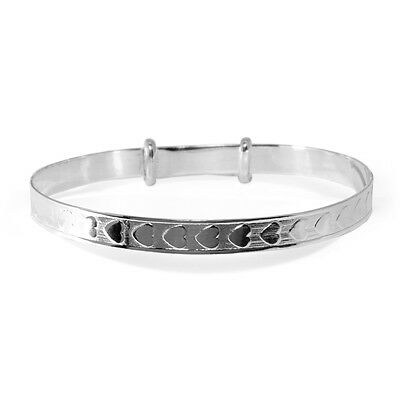 Solid Silver 925 Babies Christening Baptism Bangle Baby Present Naming Day Gift