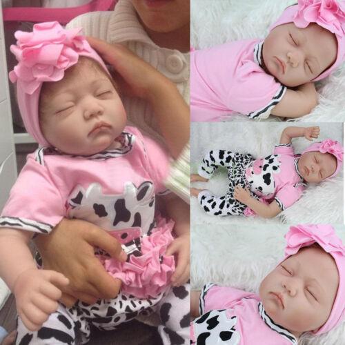22quot Handmade Reborn Baby Toy Newborn Lifelike Silicone Vinyl Sleeping Girl Dolls