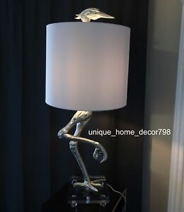 New-Ibis-Table-Lamp-Ostrich-Bird-Light-Silver-amp-White-Crane-Safari-Desk-Bedroom