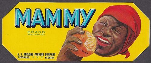 BLACK AMERICANA MAMMY BRAND ORANGE FRUIT CRATE LABEL 1930/'s LEESBURG FLORIDA NEW