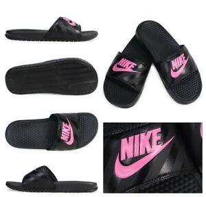 Nike-Benassi-JDI-Black-Pink-343881-061-Slides-Sandals-Flip-Flops-Women-039-s-NEW