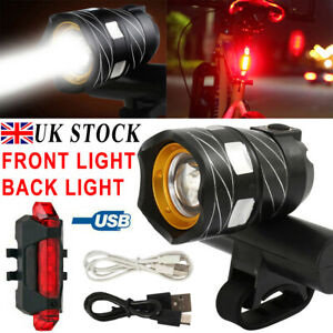 LED USB Bike Lights Set Front Rear Tail Light Rechargeable Bicycle Headlight UK
