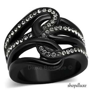 WOMEN-039-S-ROUND-CUT-AAA-CZ-BLACK-STAINLESS-STEEL-WIDE-BAND-FASHION-RING-SIZE-5-10