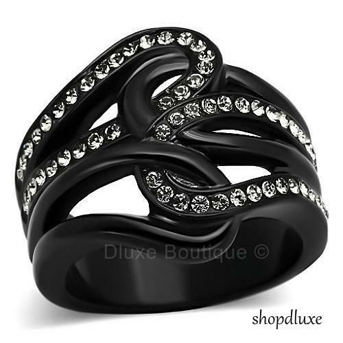 WOMEN/'S ROUND CUT AAA CZ BLACK STAINLESS STEEL WIDE BAND FASHION RING SIZE 5-10