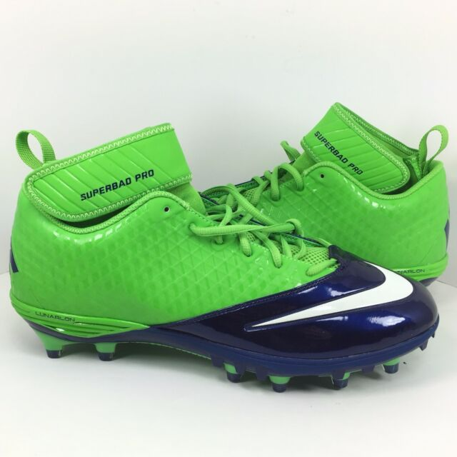 1ff13f90af9 New Nike Lunar Superbad Pro TD Football Cleats Size 12.5 Seahawks Green Blue