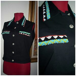 Women-039-s-034-Christine-Philllipe-034-Native-Beautifully-Beaded-Accented-BLK-Vest-6