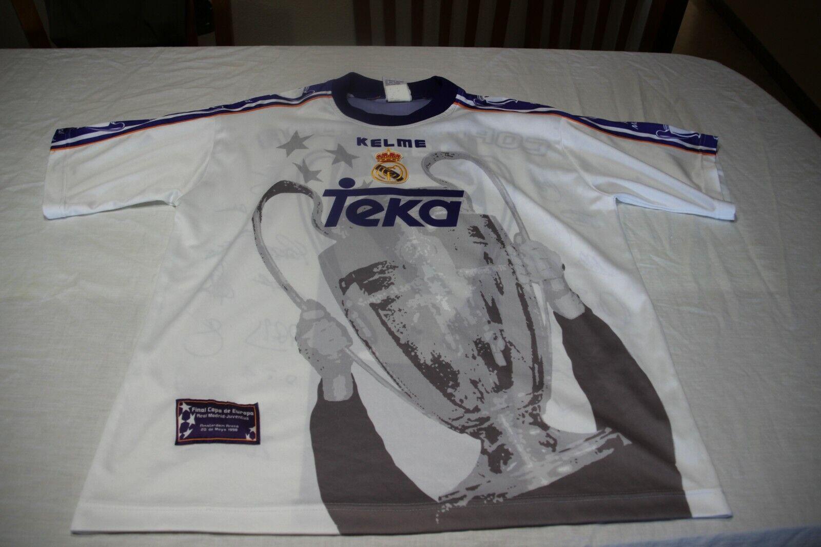 CAMISETA OFICIAL REAL MADRID CAMPEON CHAMPIONS 1998 KELME TALLA L CON LAS FIRMAS
