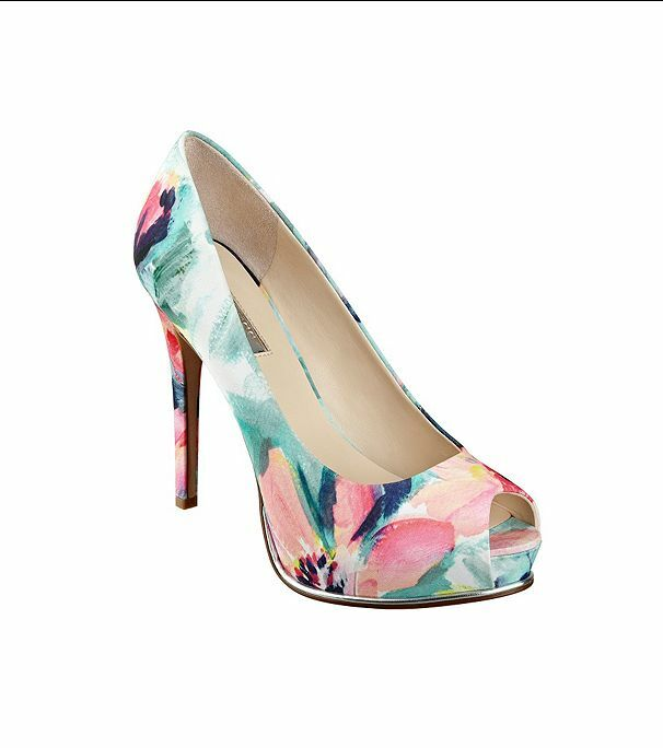 Guess Honora3 Green Multi Fabric Stiletto 10 M Floral Pump Platform Stiletto Fabric Peep New Box fcbc82