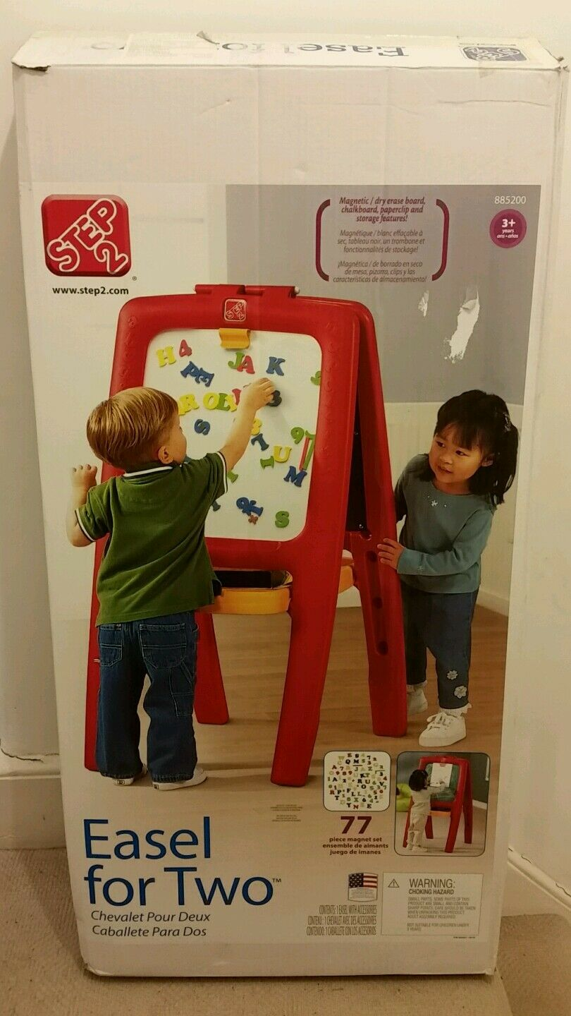 STEP2 EASEL FOR TWO MAGNETIC DRY ERASE CHALK BOARD ARTS CRAFTS TODDLERS GIFT NEW