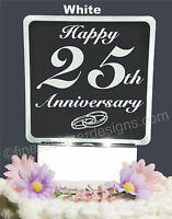 25th Anniversary Personalized Lighted Cake Topper Acrylic Led Light Up