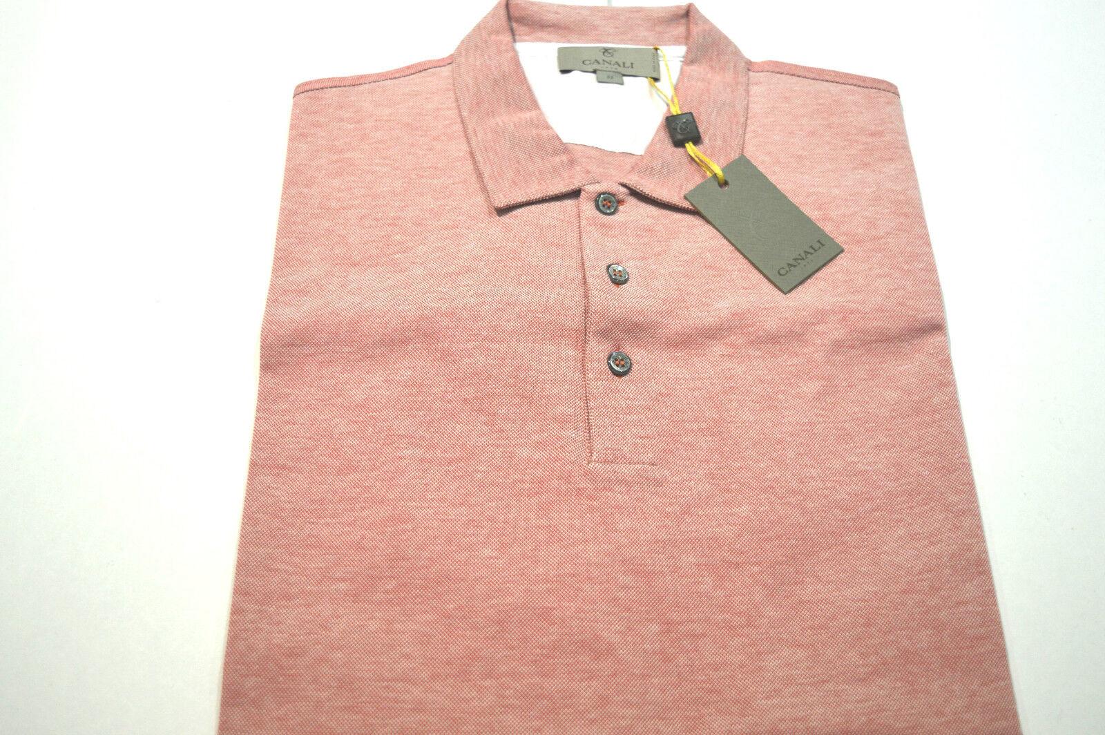 NEW  CANALI Polo  Short Sleeve 100% Cotton Größe 2XL Us Eu 56 Made in