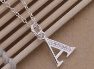 Image is loading 925-Sterling-Silver-Sf-LETTER-A-Necklace-Pendant- 8110a98b0