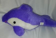 Tonytoy Dolphin Fish Plush Stuffed Animal Whale Orca Purple Sparkly 13""