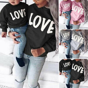 Family LOVE Sweatshirts Mother Daughter Clothes Family Clothing Mom Son Outfits