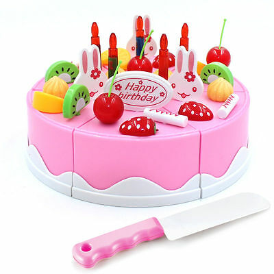 Pretend Role Play Kitchen Toy Happy Birthday Cake Food Cutting Set Kids Christma