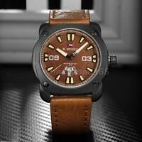 New Naviforce Men's Army Leather 3ATM Waterproof Analog Quartz Wrist Watch V0Y6