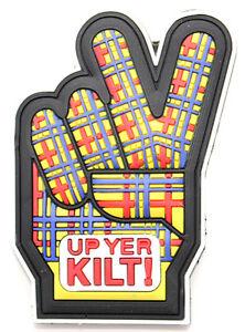Scottish Iconic Up yer Kilt Peace Hand Fingers PU Kitchen Fridge Magnet