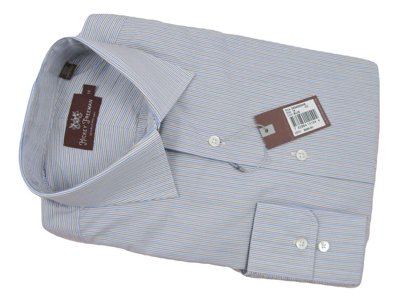 NEW  295 Hickey kostenlosman Crisp Dress hemd  16  Weiß, Blau & Tan Stripe  USA