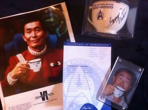 PFALTZGRAFF-Star-Trek-VI-3-Piece-EXCELSIOR-SET-Cup-SIGNED-BY-GEORGE-TAKEI-Proof