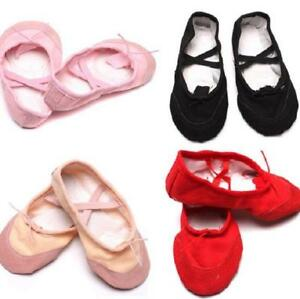Kids-Girls-Toddler-Canvas-Ballet-Dance-Shoes-Child-Fitness-Gymnastics-Slippers-H